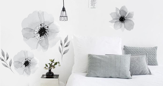 sticker fleurs en noir et blanc