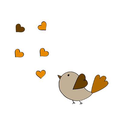 sticker oiseaux et coeurs
