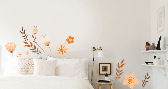 sticker fleurs d&#39automne orangee