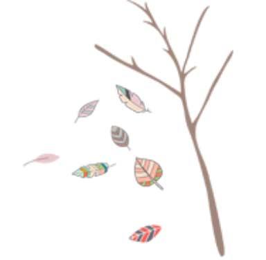 sticker feuilles colorées et branches