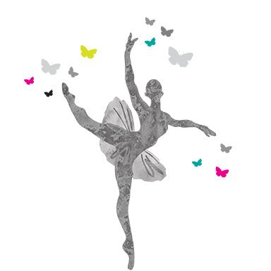 sticker danseuse et papillons