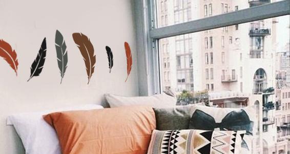 sticker plumes originales et colorées