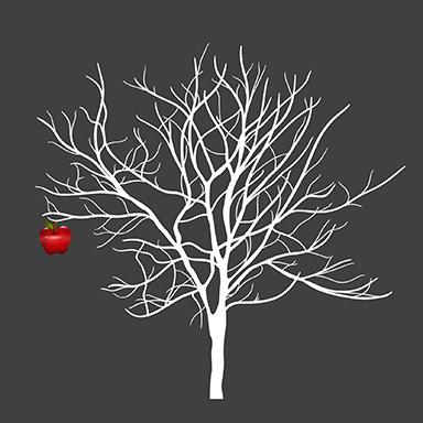 sticker arbres et pommes