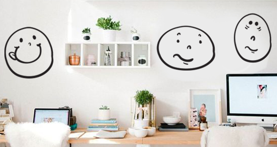 stickers muraux smileys originaux sticker d coration murale. Black Bedroom Furniture Sets. Home Design Ideas