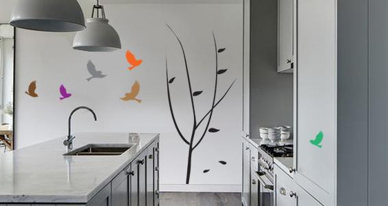 sticker feuille d'arbres et oiseaux