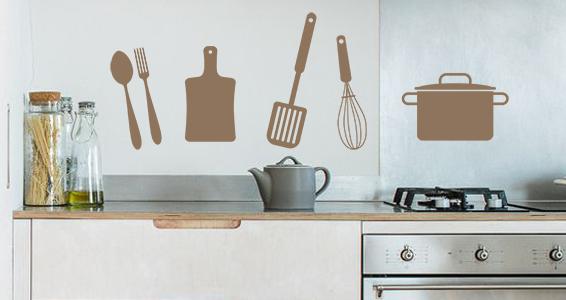 Stickers muraux ustensiles cuisine sticker d coration for Decoration ustensiles cuisine
