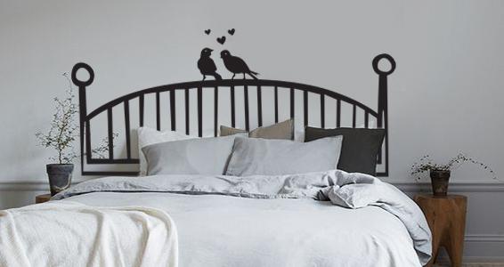 sticker Tête de lit avec oiseaux