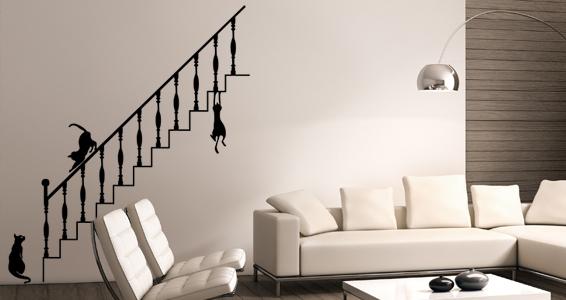 sticker Chats sur un escalier