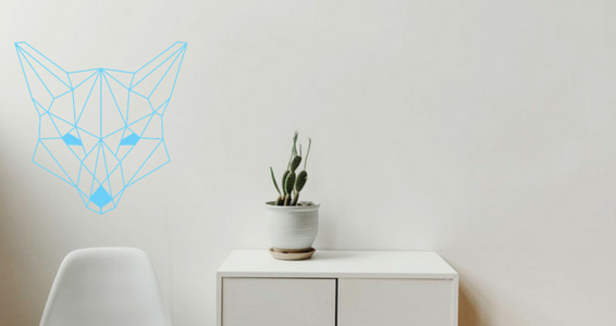 sticker Tête de renard en origami