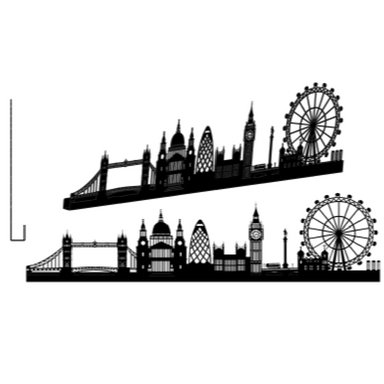 sticker LONDON GRAND NOIR SHADOW-3D