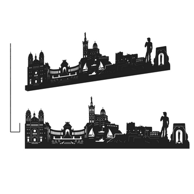 sticker MARSEILLE GRAND NOIR SHADOW-3D