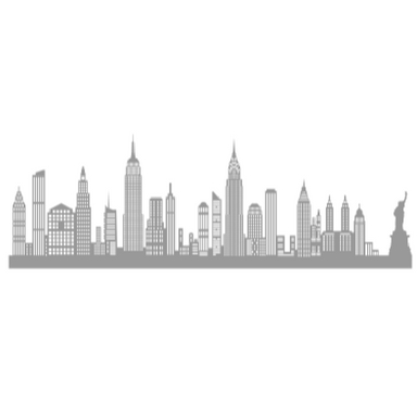 sticker NEW YORK GRAND GRIS ANTHRACITE SHADOW-3D