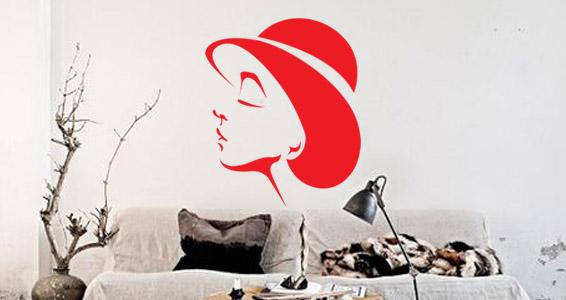sticker Femme chapeau