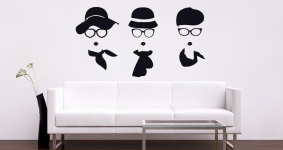 sticker Chapeau foulard lunettes