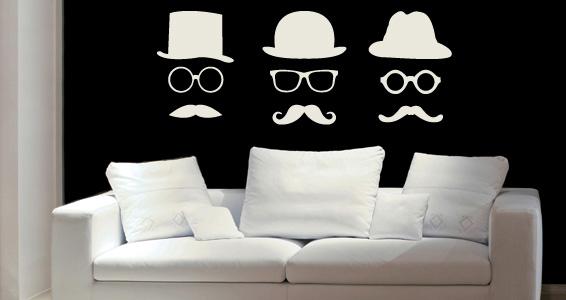 sticker Chapeau moustache lunettes