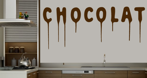 Stickers muraux chocolat sticker d coration murale for Decoration murale gourmandise