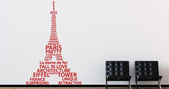 sticker Tour Eiffel en mots 2