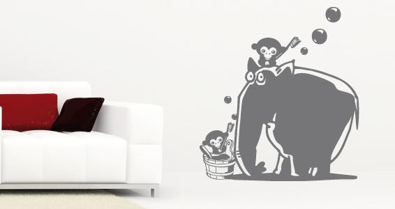 sticker Eléphant et 2 singes