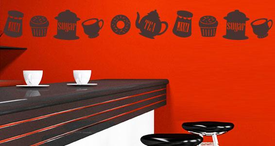 Stickers muraux frise teatime sticker d coration for Frise murale cuisine