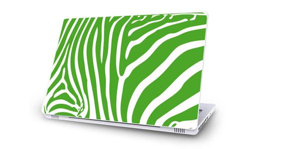 sticker Zèbre vert pour Mac Book