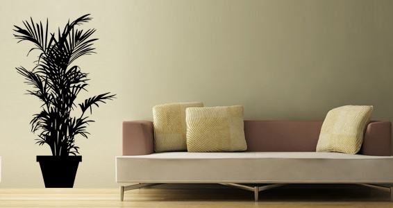 stickers muraux grande plante verte sticker d coration murale. Black Bedroom Furniture Sets. Home Design Ideas