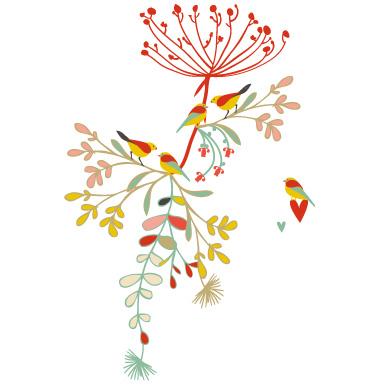 sticker Oiseaux colorés sur une branche