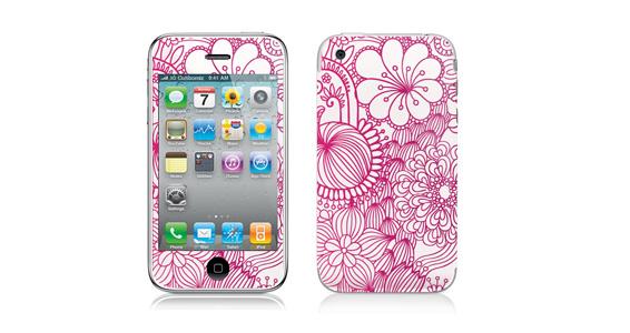 sticker Fleurs roses pour Iphone3
