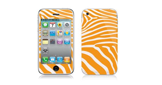 sticker Zèbre jaune pour Iphone3