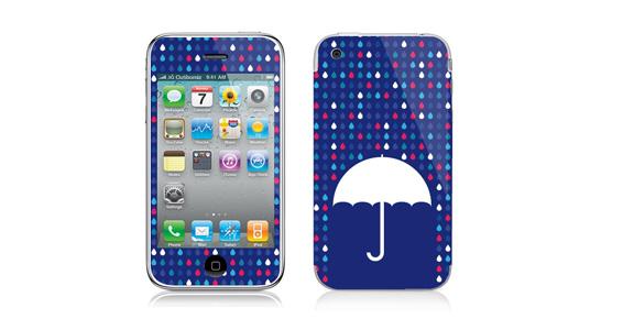 sticker Parapluie bleu pour Iphone3