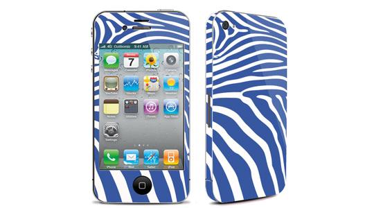 sticker Zèbre bleu pour Iphone4