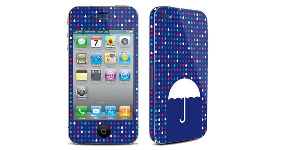 sticker Parapluie bleu pour Iphone4
