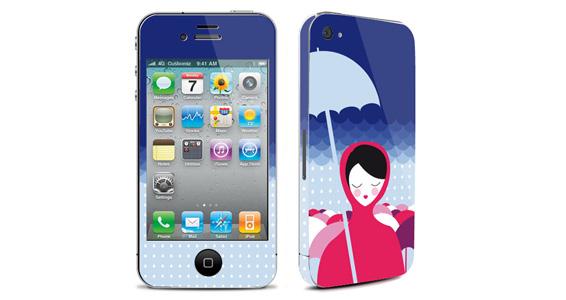sticker Sous la pluie pour Iphone4