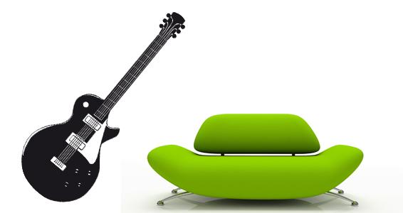 Stickers muraux guitare jazz sticker d coration murale for Decoration murale guitare