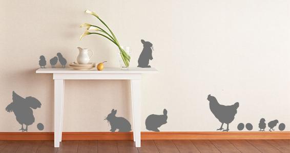 sticker Poules et lapins