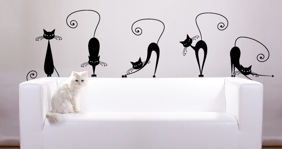 stickers muraux les chats sticker d coration murale. Black Bedroom Furniture Sets. Home Design Ideas