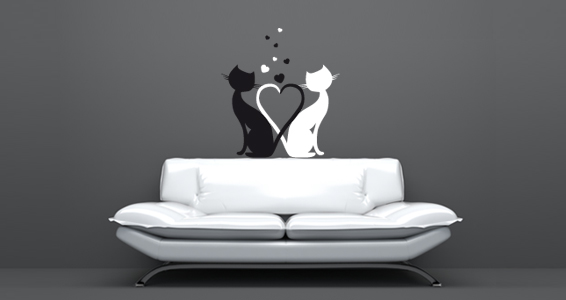 stickers muraux des amours de chats sticker d coration murale. Black Bedroom Furniture Sets. Home Design Ideas