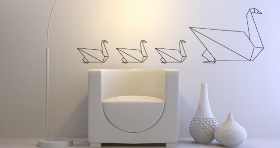 stickers muraux origami cygne sticker d coration murale. Black Bedroom Furniture Sets. Home Design Ideas