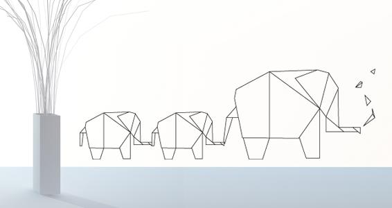 sticker Origami éléphant