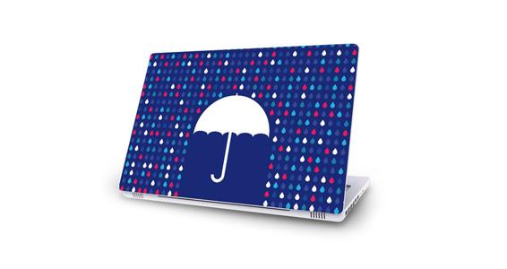sticker Parapluie bleu pour Mac Book