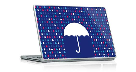 stickers muraux parapluie bleu pour pc portable. Black Bedroom Furniture Sets. Home Design Ideas