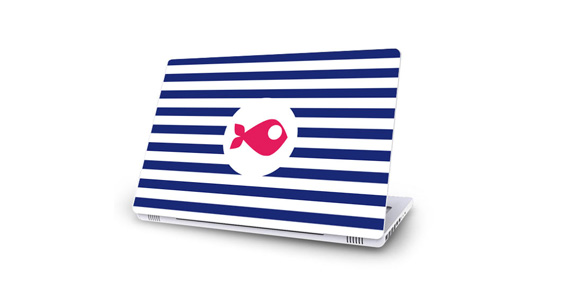 sticker Rayures marine pour Mac Book