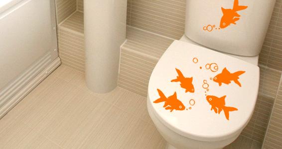 sticker Poissons Rouges pour WC