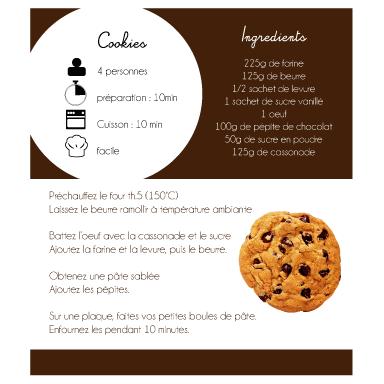 sticker recette cookies