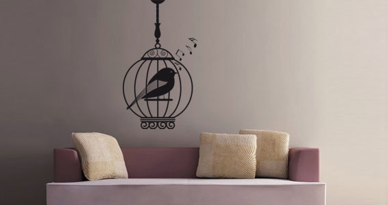 sticker Oiseau en cage