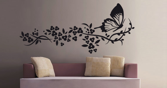 stickers muraux papillon et fleur sticker d coration murale. Black Bedroom Furniture Sets. Home Design Ideas