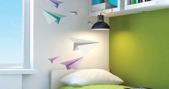 Stickers muraux kit avion origami sticker d coration murale - Origami decoration murale ...