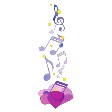 sticker Fleur et musique