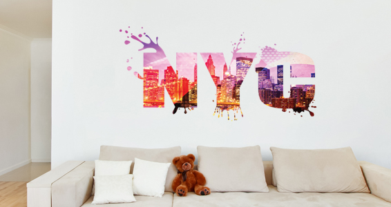 stickers muraux new york city sticker d coration murale. Black Bedroom Furniture Sets. Home Design Ideas