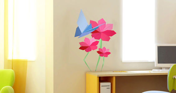 Stickers muraux : papillons et fleurs origami - Sticker décoration ...