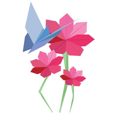 stickers muraux papillons et fleurs origami sticker d coration murale. Black Bedroom Furniture Sets. Home Design Ideas